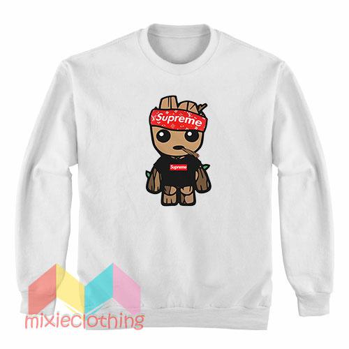 Baby Groot X Supreme Hat Parody Sweatshirt