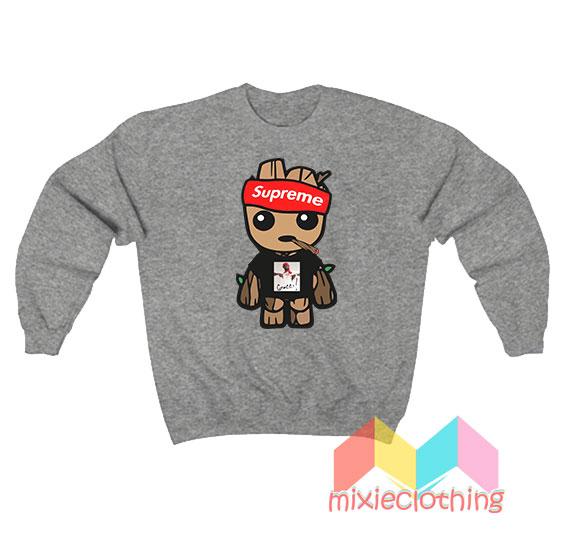 Baby Groot X Gucci Mane X Supreme Parody Sweatshirt