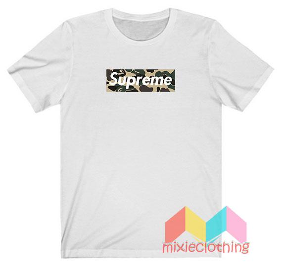 Cheap Bape Camo X Supreme Logo Parody T-shirt