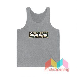 Cheap Bape Camo X Supreme Logo Parody Tank Top