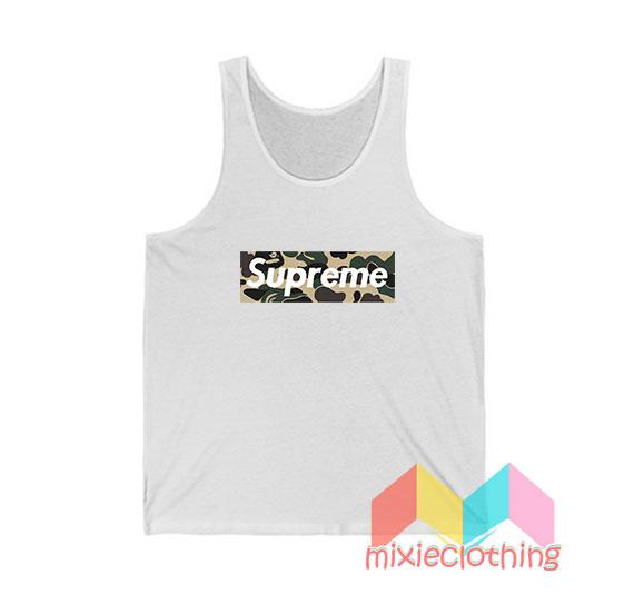 Cheap Bape Camo X Supreme Logo Parody Tank Top